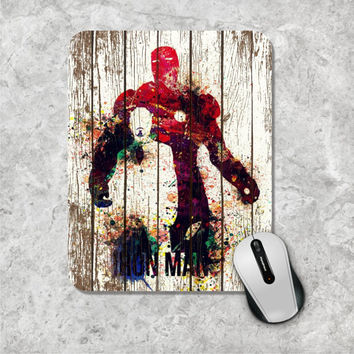 Iron Man Mousepad, Watercolor Mouse Pad, Marvel Comic Mouse Mat, Tony Stark, Superhero, The Avengers, Wooden, Personalized Computer, Custom