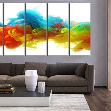 Large Abstract art canvas print for living room decor, multi panel set of 5 panel canvas colorful wall decor, abstract canvas print 2S86