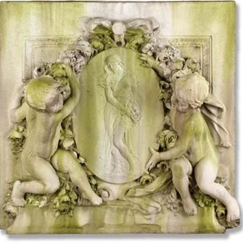 Labelle Demoiselle Chateaux Cherub Wall Hanging Garden Plaque 39H