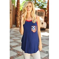 Sequined Pocket American Flag  - Navy