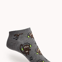 FOREVER 21 Monkey Business Ankle Socks Grey/Neon Yellow One