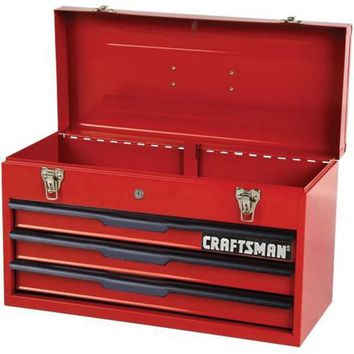 Craftsman Tool Chest 3 Drawer Portable Cabinet Ball Bearing Mechanic Toolbox Red