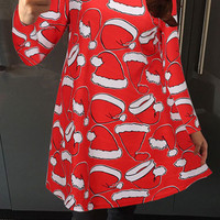 Christmas Cap Print Dress