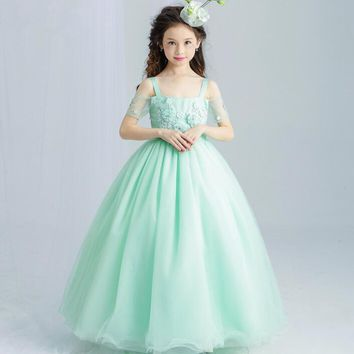Sweet Mint Green Flower Girl Dress for Wedding Floor Length Appliques Bead Kids Party Prom Dresses First Communion Dresses
