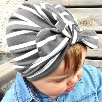 2018 stripe Indian hat baby girls kids turban headband hair head bands accessories for children headwrap hair ornaments Bandanas