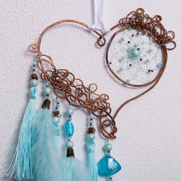 Blue Dream Catcher,  Dreamсatcher, Dream Catchers, Copper Heart, Wire copper, Brass, Accessories, beads, metal, glass, crystals
