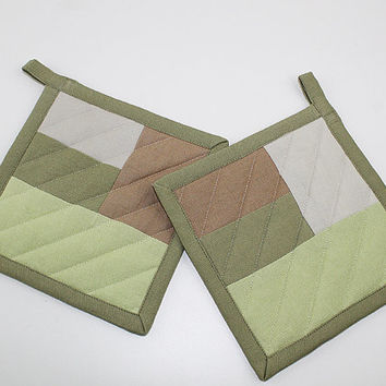 Green and Brown ColorBlock Pot Holders, Pair of Quilted Fabric Pot Holders, Green Kitchen, P106