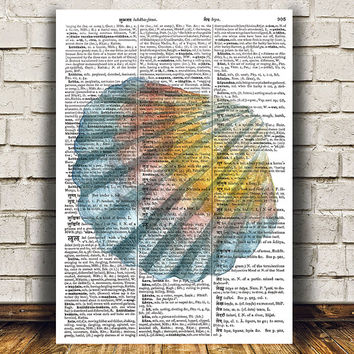 Seashell print Dictionary decor Nautical poster Beach house print RTA1400