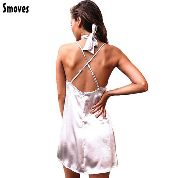 Smoves Women Sexy Deep V Neck Back Criss Cross Choker Neck Silk Satin Slip Dress A-Line Shinning Party Dresses Vestidos GD333