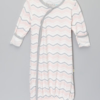 Baby Roo Pink Zigzag Fold-Over Gown - Infant   zulily