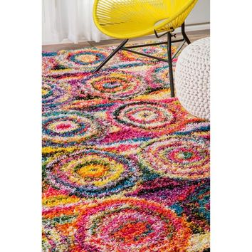 nuLoom Abstract Circles Multicolored Shag Contmeporary Area Rug (5' x 8') | Overstock.com Shopping - The Best Deals on 5x8 - 6x9 Rugs