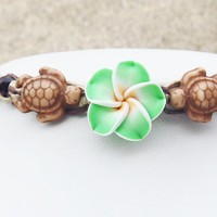 Turtles and Flower Hemp Anklet Bracelet girls womens handmade jewelry hippie