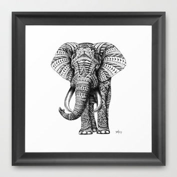 Ornate Elephant Framed Art Print by BioWorkZ | Society6