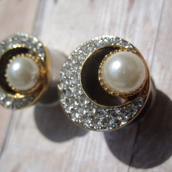 "One of a Kind VINTAGE Pair of Gold, Rhinestone, & Pearl Moon Tunnels -Formal Plugs-Bridal-Wedding- 1/2"", 9/16"", 5/8"" (12mm, 14mm, 16mm)"