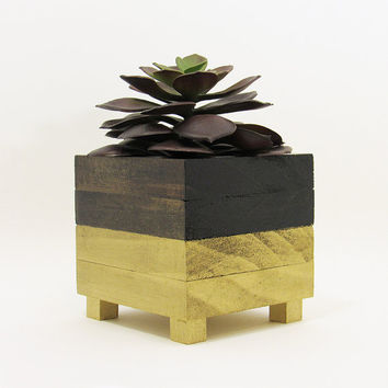 Succulent Planter, Wood Planter, Modern Planter, Succulent Pot, Air Plant Holder, Planter Box, Geometric Planter, Indoor Planter, Gold