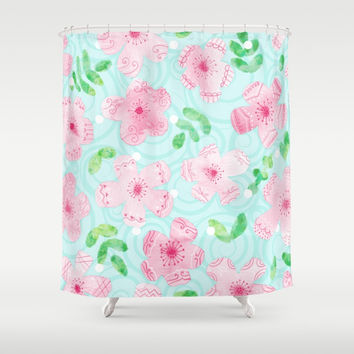 Happy Cherry Blossoms Shower Curtain by Noonday Design