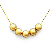 5 Ball necklace, Minimalist necklace, gold beaded necklace, 14K gold, 6mm, gold necklace, charm necklace