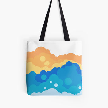 'Fluffy bubbly clouds illustration' Tote Bag by Foxeye Daisy