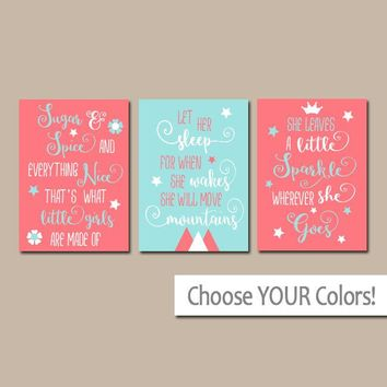 GIRL QUOTES NURSERY Art,Coral Aqua Nursery Quotes Wall Art,Sugar and Spice,Let Her Sleep,She Leaves Little Sparkle,Set of 3 Canvas or Print