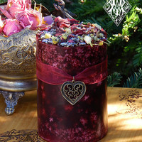 Witches Heart . Herbal Alchemy Candle 3x4 . Dark Mahogany, Amber, Black Violet, Orchid, Pomegranate . Sexual Seduction, Attraction, Romance