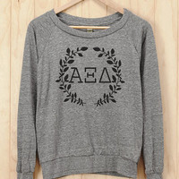 Alpha Xi Delta Wreath Athletic Heather Slouchy Pullover