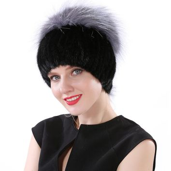 Valpeak 2017 Winter Hat Female Real Knitted Mink Fur Hat Russian Fashion Furry Warm Elastic Women Beanie Hat with Fox Fur Top