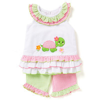 Bonnie Jean 2T-4T Turtle Applique Seersucker Dress & Capri Set | Dillards