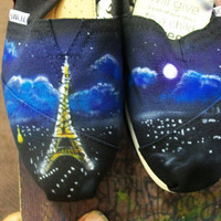 Toms canvas shoes girls womens flats custom hand painted airbrushed Eiffel tower