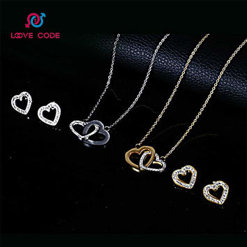 Love Code Newest Romantic Stainless Steel Two Heart small Pendant Necklace earrings Girls Jewelry Sets