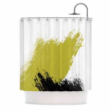 Mustard and Black Strokes - Black Yellow Abstract Painting Shower Curtain