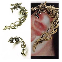 Single dragon ear cuff fit for left ear earring for pierced ear ear bones folder ear Stud trending gifts