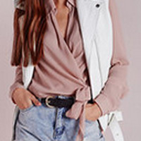 Pink V-Neck Long Sleeve Chiffon Blouse
