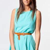 Mint Pleated Mini Dress with Low Cut Back