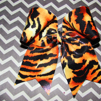 Tiger Cheer Bow by isparklethat on Etsy