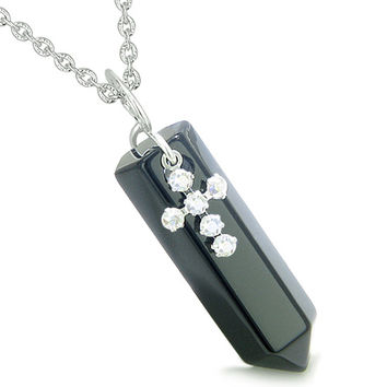 Amulet Crystal Point Wand Holy Cross Cute Crystals Charm Black Agate Pendant 22 Inch Necklace