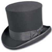 Top Hat Victorian SCALA Tuxedo Mad Hatter 100% Wool GRAY SMALL