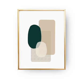 Green Beige Poster, Pastel Wall Art, Geometric Poster, Minimalist Poster, Geometric textures, Abstract Shapes, Watercolor Print, Simple Art