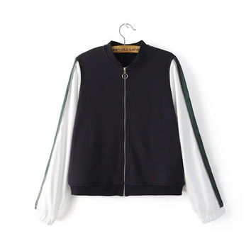 Hot Deal On Sale Sports Patchwork Embroidery Alphabet Long Sleeve Zippers Tops Baseball [8173568455]
