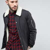 ASOS Coach Jacket With Fleece Lining In Black at asos.com
