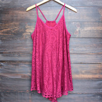 Santorini crochet sun dress in burgundy