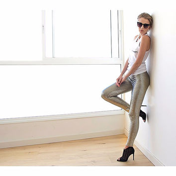 Metallic Gold Sparkling Leggings