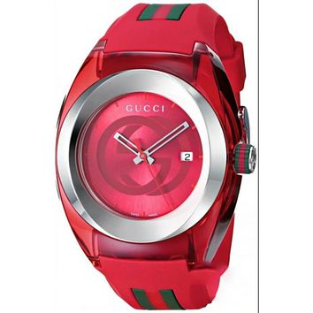 GUCCI fashion trendy men and women watch F-PS-XSDZBSH Red