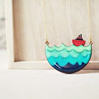 Adrift - Little Red Boat Nautical whimsical necklace