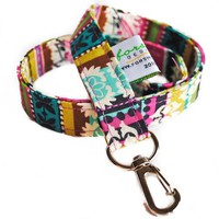 Fabric Lanyard Id Badge Holder    Jewel Stripe    Ready To Ship