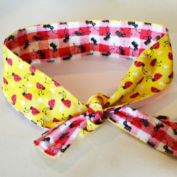 Ladybug and ants women/teen/children/toddler/baby tie headwrap, all sizes headwraps/headband, reversible retro style wrap