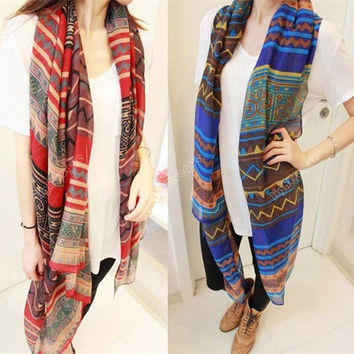 Hot Fashion Women's Lady Bohemian Voile Soft Silk Scarf Large Shawl Scarves