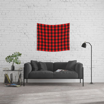 Classic Red and Black Buffalo Check Plaid Tartan Wall Tapestry by podartist