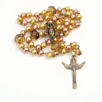 Catholic Rosary, Pearl Rosary, Prayer Beads, Spiritual Gift, Religious Gift, Antiqued, Vintage Inspired