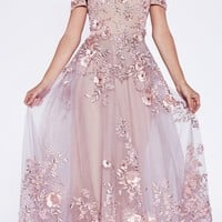 Dusty Rose Off-the-Shoulder Long Prom Dress with Appliques