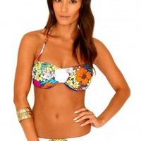 Missguided - Sitri Tropical Print Bandeau Bikini